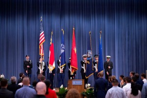 Presentation of the Colors at the Red, White, and Carolina Blue Graduation Ceremony
