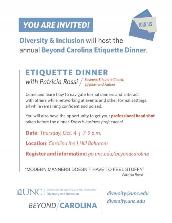 Office For Diversity Inclusion Beyond Carolina Etiquette Dinner