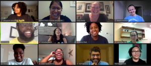 A Zoom screenshot with 12 students smiling and laughing